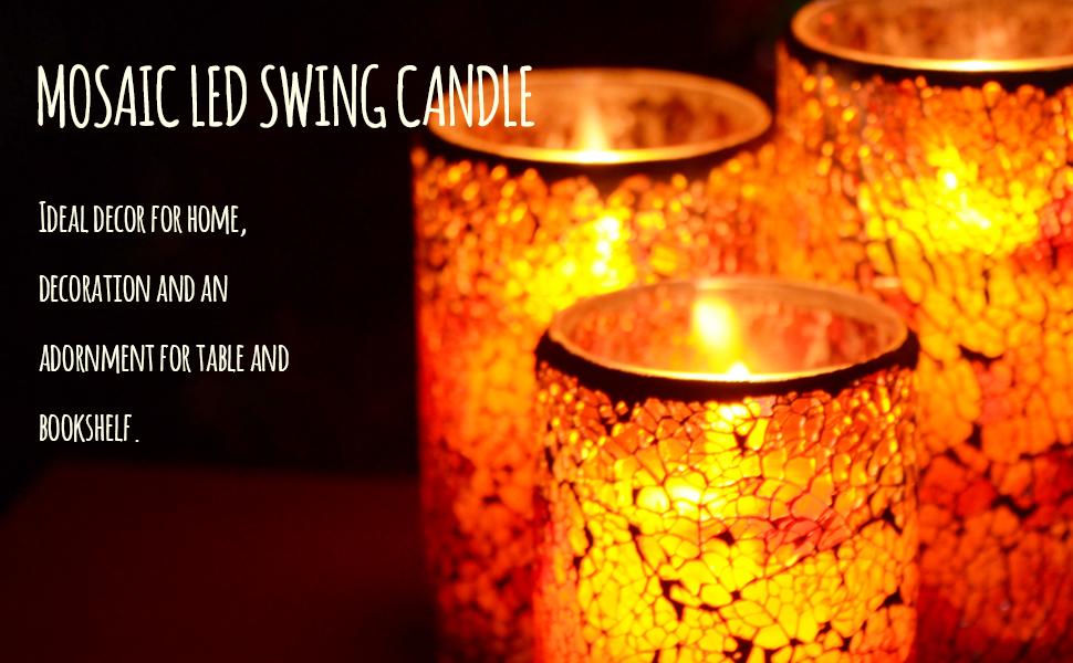 Mosaic led candle
