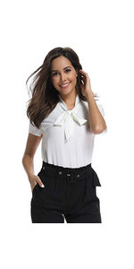 women's bow tie chiffon shirt