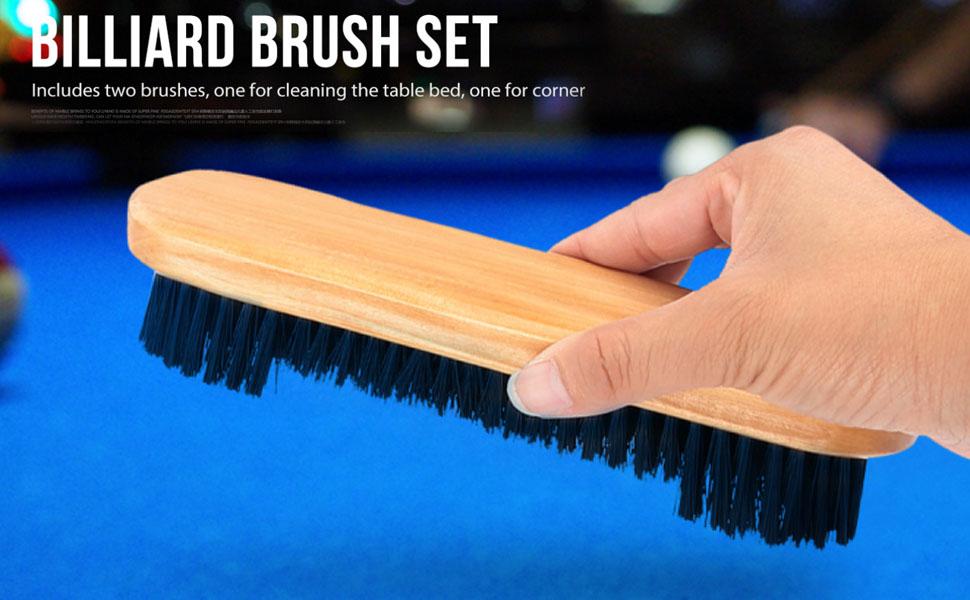 "2Pcs Pool Snooker Billiard Table Brush Horsehair Rail Wooden Handle 8.5/"" 9/"""