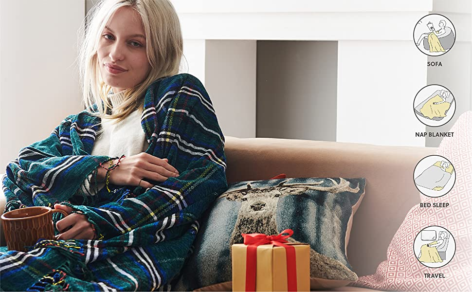 get cozy with the Bedsure Christmas Plaid Blanket