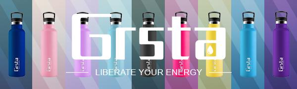 Grsta Botella Agua Acero Inoxidable - Termo para Agua Fria 350ml/Azul Verde Botella Termica sin BPA Aislamiento de Vacío de Doble Pared Reutilizable ...