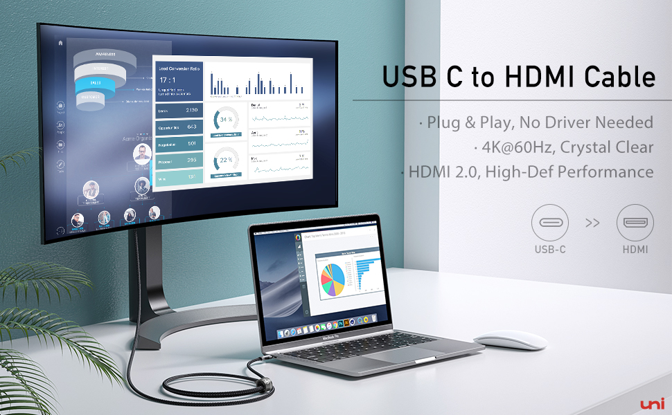 USB C to HDMI Cable 4K@60Hz
