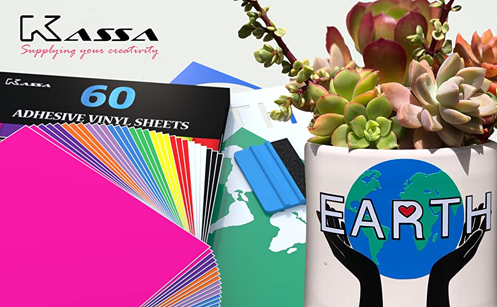 colorful kassa permanent adhesive vinyl sheets planter decoration easyproject