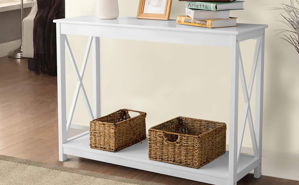 Leisure Zone Tavolo console Tavolino laterale Ripiano Ripiano Tavolo dingresso in legno per soggiorno , Corridoio , Camera da letto bianco