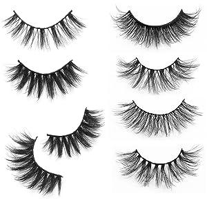 20 Pairs Mixed Styles False Eyelashes 3D Faux Mink Eyelashes Wispies Fluffy Natural Long Lashes