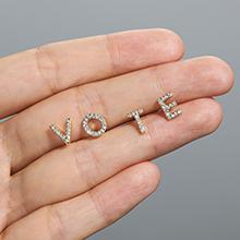 Vote initial stud earring