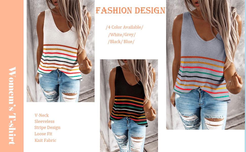 Kinlonsair Women's V-Neck Stripe Knit Tank Tops Summer Casual Loose Sleeveless Blouse T-Shirts