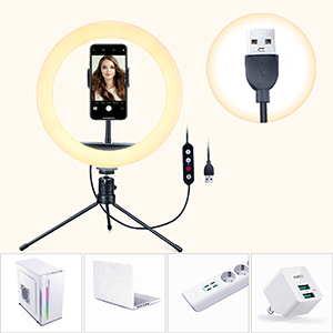 Selfie ring light USB port laptops, power banks phone chargers USB adapters