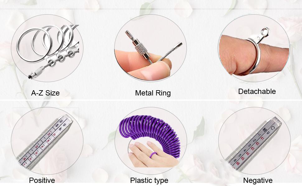 DoGeek Medidor Anillos Ring Sizer para Medir Dedos de Tamaño para ...