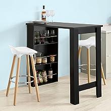 FWT17-SCH+FST70-SCHX2 SoBuy Set Penisola Cucina con 2 sgabelli Tavolo Bar con sgabelli L112*A107*57 cm Nero