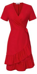 Wrap V Neck Mini Dress