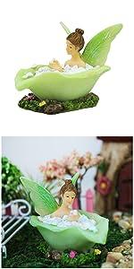 fairy garden miniature fairies girl sitting outdoor indoor tiny small bath