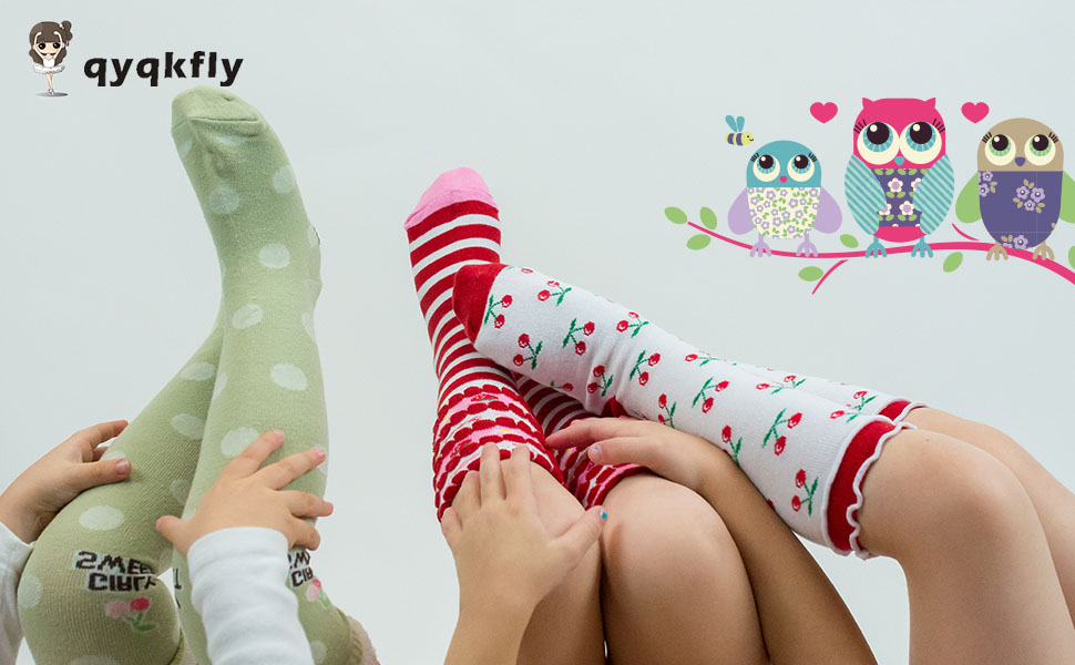 High Elasticity Girl Cotton Knee High Socks Uniform Owl Bird Women Tube Socks