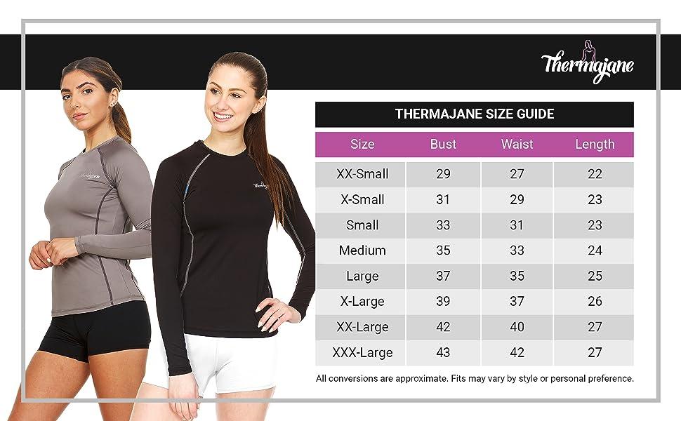 Thermajane Compression Shirt Size Chart