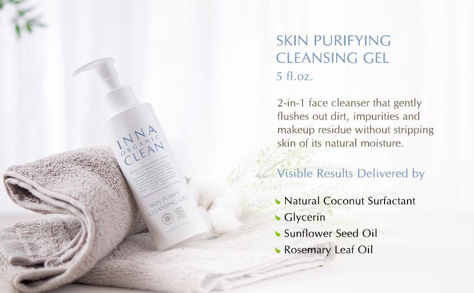 Inna Organic cleansing gel clean beauty green essential oil sensitive skin moisture hair care good