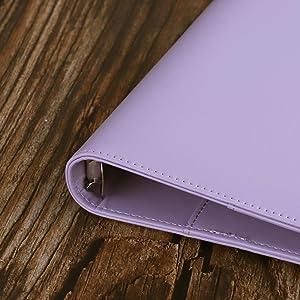 Antner A5 Binder PU Leather 6-Ring Notebook Binder Cover for A5 Filler Paper