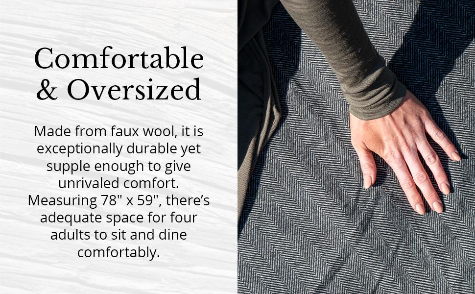 Waterproof Wool Picnic Blanket with Leather Carry Straps Grey Herringbone