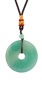 Natural Crystal Stone Lucky Coin Pendant Necklace for Men and Women