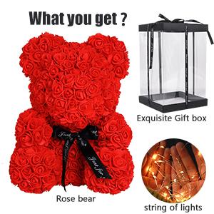 Rose Teddy Bear Rose Bear Rose Flower Bear with Lights Roses Bear Gift for Mom Valentines Day Gifts