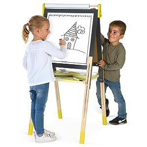 tableau réglable bois gris et jaune janod enfants