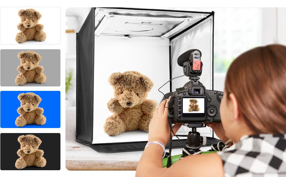 amzdeal Caja de Luz Fotografía Estudio Portátil 3000-6500K Temperatura de Color Brillo Regulable (2w-60w) con 4 Fondos (Negro/Blanco/Gris/Azul), 240 LEDs: Amazon.es: Electrónica