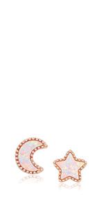 rose gold moon earrings
