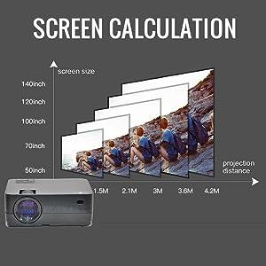 tamaño de pantalla, proyecta a más de 140 pulgadas