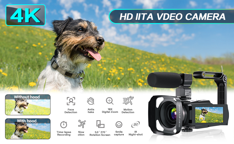 Camcorder Video Vlog HD Camera 1080P Digital Recorder,16X Zoom 3 Touch Screen Camcorder Microphone