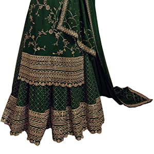Green is cool and with golden work it creates perfect combination