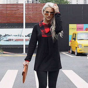 Timeson Women's Long Sleeve Button Lapel Pullover Tunic Swing Sweatshirt