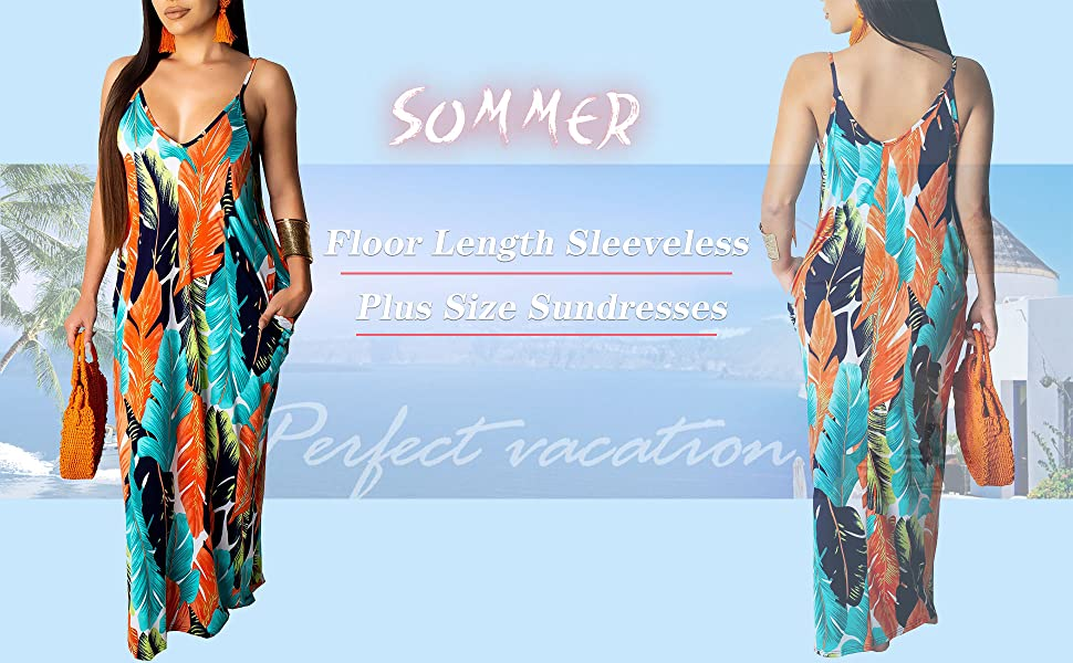 Summer Spaghetti Strap Maternity Sundress with Pockets