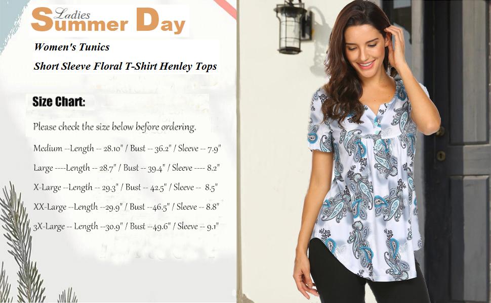 womens summer tops floral blouses short sleeve tunic shirts henley shirt