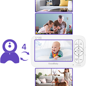"""camera baby monitor - GOODBABY Real 720P 5"""" HD Display Video Baby Monitor With Camera And Audio, Remote Pan&Tilt&Zoom, Two-Way Talk,Temperature Monitor, Night Vision, Lullaby Player, 960ft Range"""