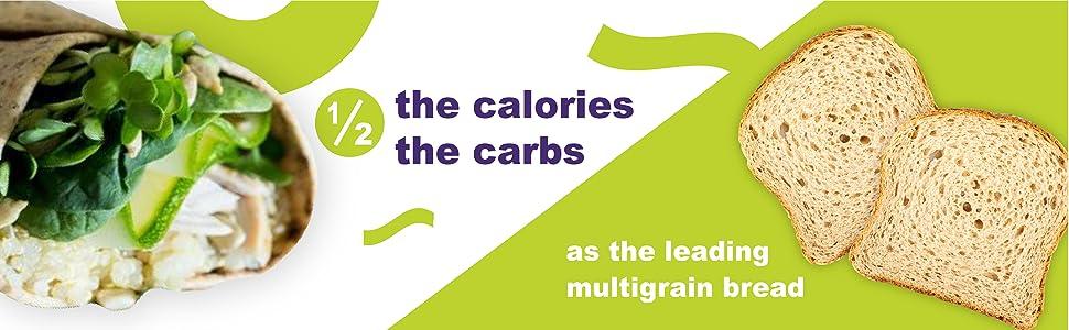 1/2 the calories carbs