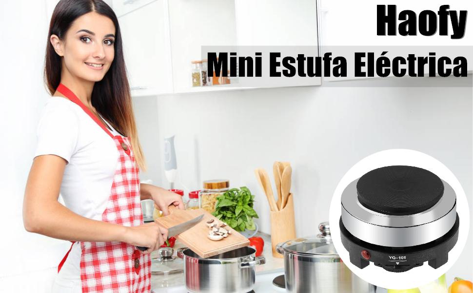 Hornillo Electrico, Haofy Portatil Placa Eléctrica de Cocina, 220V 500W, Multifuncional Casa Calentador de Agua de Té y Café, para Cocinar Gachas de ...
