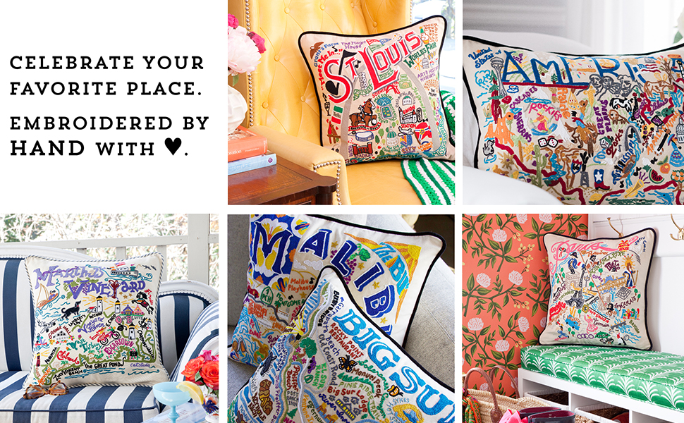hand-embroidered geography pillows