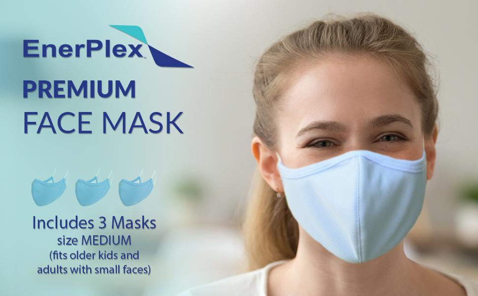 enerplex reusable premium face mask light blue large face mask for man woman large face fabric mask