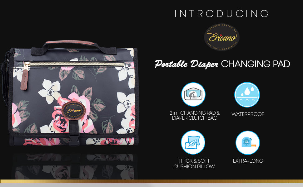 2-in-1 changing pad diaper clutch bag thick padded pillow extra long leather waterproof floral pink