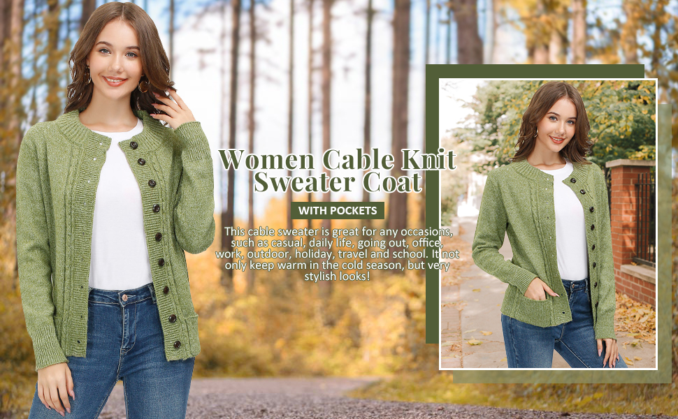 Women cable Knit sweater coat