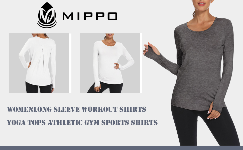 Mippo Long Sleeve Workout Shirts for Women Tie Back Yoga Exercsie Tops Thumb Hole Shirts
