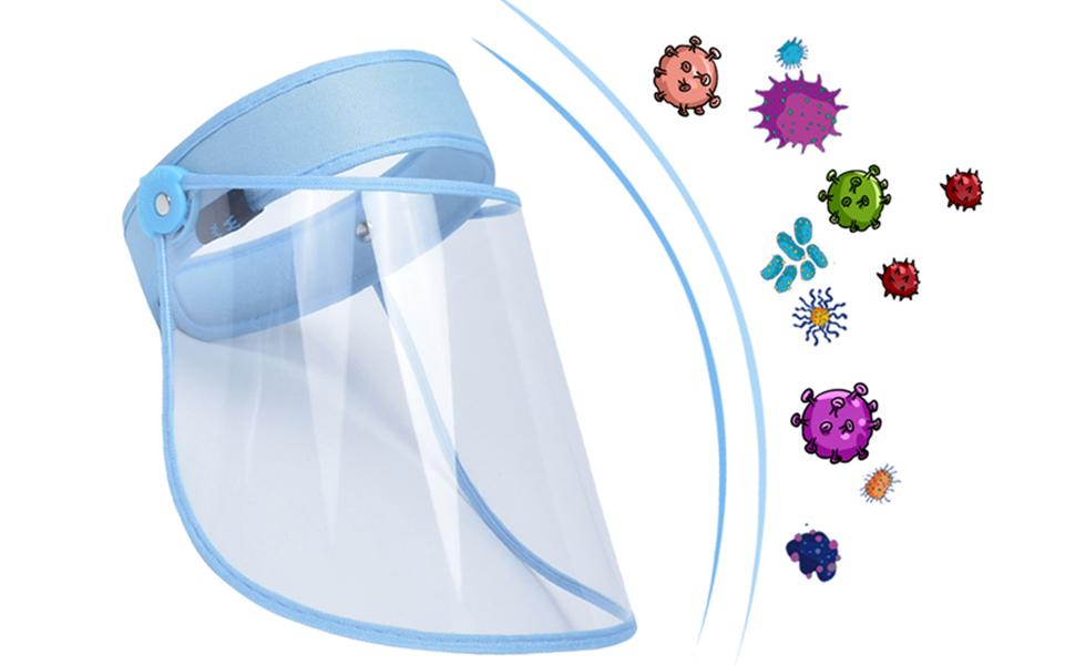 AIEOE Plegable Transparente Protector Facial de Seguridad Escudo de Cara Completa de Protecci/ón a Prueba de Saliva Antivaho Visera Protectora Pack de 2