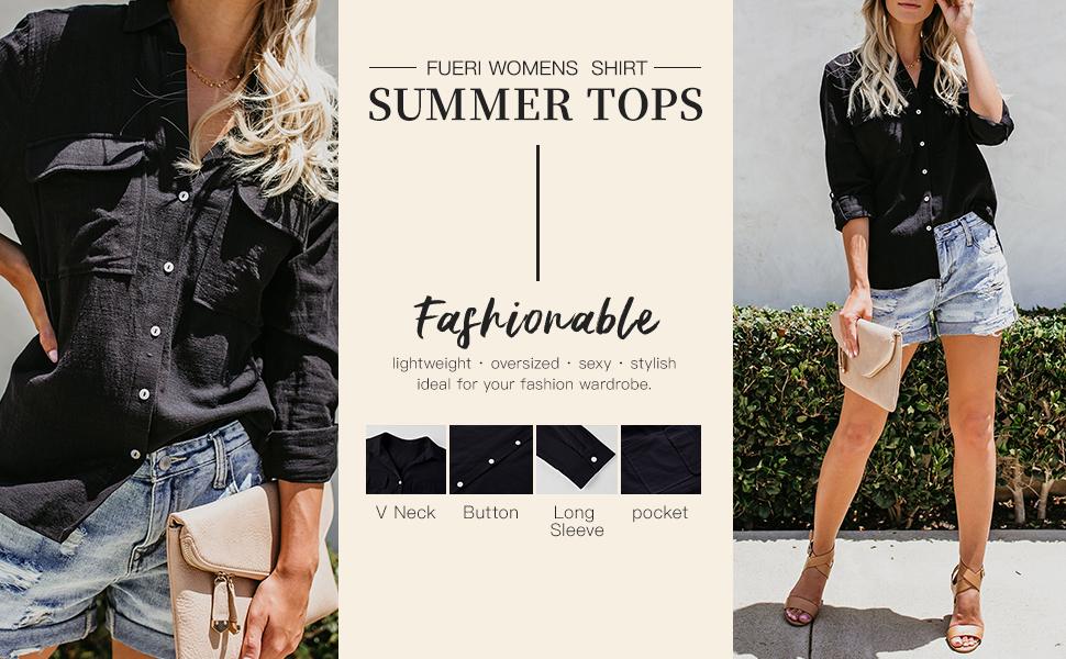 lightweight oversized shirt for women summer spring blouse