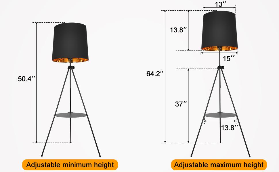 modern mid century tripod floor lamp tall standing light bedroom living room dimmable e26 edison