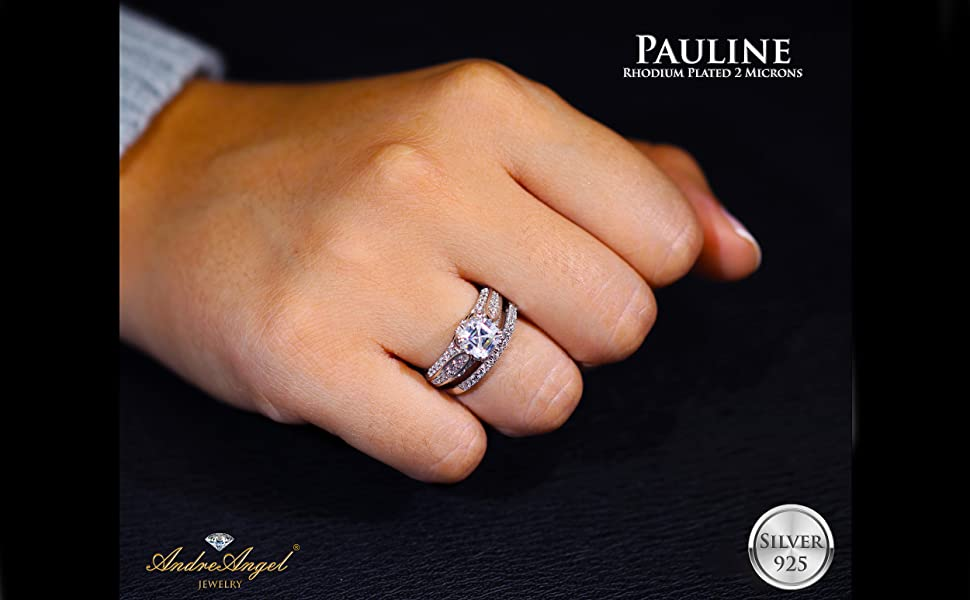 Engagement Ring Set Silver 925