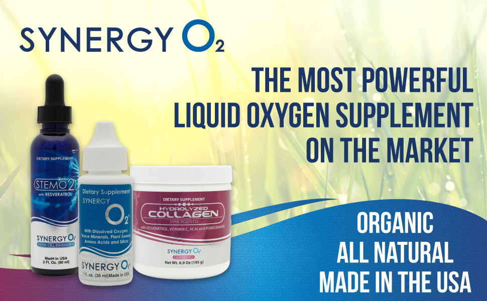 Graphic of StemO2, SynergyO2, and Hydrolyzed Collagen containers over a sunny picture of plants.