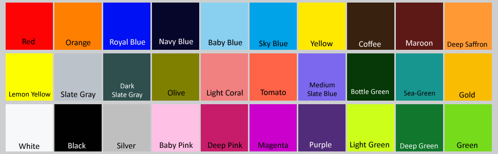 red. pink. blue. maroon. baby pink