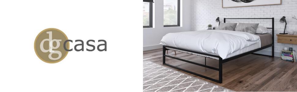 DG Casa Allen Modern Industrial Farmhouse Minimalist Metal Platform Bed Frame Queen Size in Black