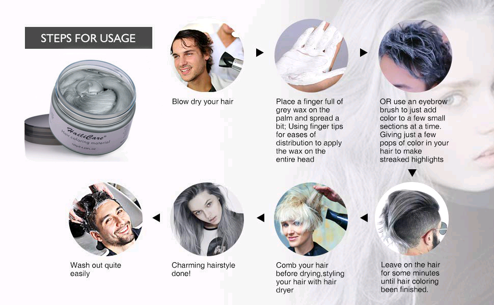 HailiCare 120g Silver Ash Grey Hair Wax, Men Women