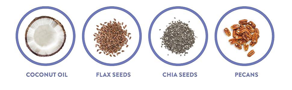coconut oil flax seeds chia seeds pecans yogurt muesli carb free granola breakfast fiber treats nuts