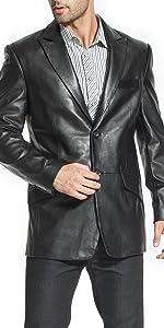 BGSD Men's Ben 2-Button Leather Blazer Lambskin Sport Coat Jacket